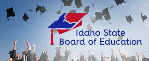 Idaho State Board of Education logo on top of a picture of graduates throwing their caps in the air