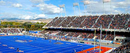 Boise State blue football field and stands