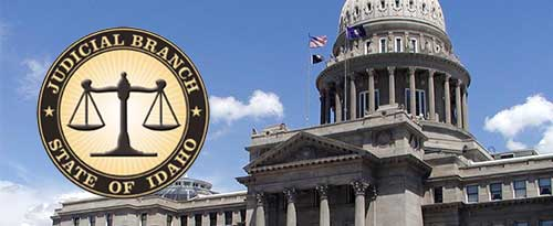 Idaho state capitol with the Idaho Judicial Branch seal